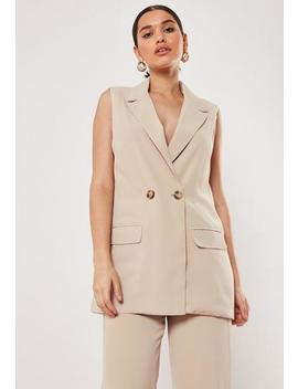 Tall Stone Sleeveless Long Blazer by Missguided