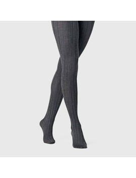 Women's Wide Ribbed Sweater Tights   A New Day Charcoal Heather by A New Day Charcoal Heather