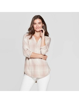 Women's Plaid Long Sleeve V Neck Rayon Twill Tunic   Universal Thread Neutral by Neck Rayon Twill Tunic