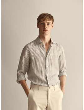 Slim Fit Striped 100% Linen Shirt by Massimo Dutti