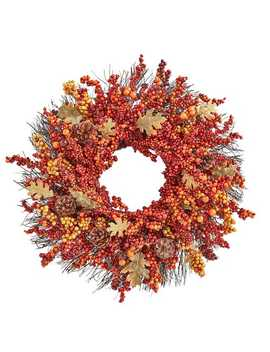 """24"""" Faux Berries & Pinecones Fall Wreath by Pier1 Imports"""