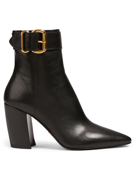Leather Heeled Ankle Boots With Buckle by Holt Renfrew