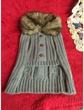 Gray Cable Knit Dog Sweater With Faux Fur Collar & Brass Buttons Size Small by Unknown