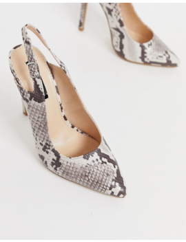 Lost Ink Slingback Pointed Court Shoe In Snake by Lost Ink.