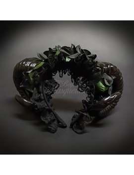 Ram Horns Headband Masquerade Mask, Hair Decor Costume Handband, Black/Floral by Etsy
