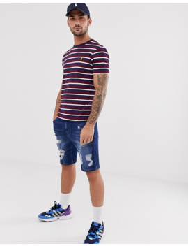 Polo Ralph Lauren Icon Logo Stripe T Shirt Custom Regular Fit In Burgundy/Navy/White by Polo Ralph Lauren