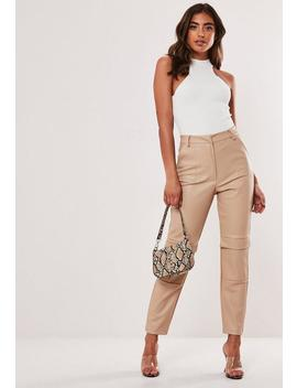 Stone Faux Leather Cargo Cigarette Trousers by Missguided