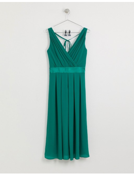 Tfnc Tall Bridesmaid Midi Dress With Satin Bow Back In Emerald Green by Tfnc