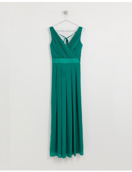Tfnc Petite Bridesmaid Maxi Dress With Satin Bow Back In Emerald Green by Tfnc