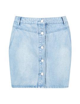 Plus Yoke Front Button Through Denim Skirt by Boohoo