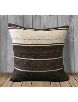 Cream White Brown Cushion Throw Pillow  20x20 Pillow Cover  Neutral Kilim Pillows Sham  Rustic Decor  Stripe Hemp Pillows  Couch Pillow Case by Etsy