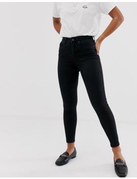 Vero Moda Petite Skinny High Rise Jeans In Black by Vero Moda