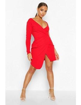 Asymmetric Wrap Front Blazer Dress by Boohoo