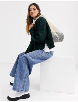 Weekday Cassandra Sweater In Dark Green by Weekday
