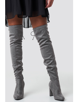 Overknee High Heel Boot Grijs by Na Kd Shoes