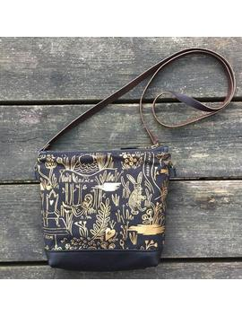 Moonie Canvas Purse, Veg Tan Leather Purse, Golden Pattern Fabric, Rifle Paper Fabric by Etsy