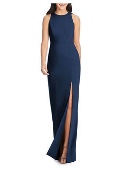 Open Back Sleeveless Crepe Column Gown W/ Slit by Dessy Collection