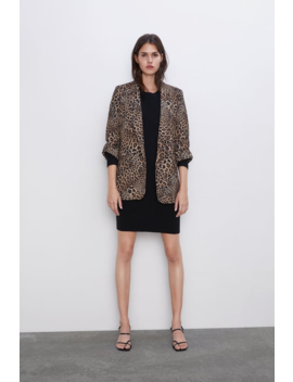 Animal Print Blazer With Rolled Up Sleeves  New Inwoman by Zara