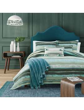 Porch & Den Caden Green Stripe Cotton Quilt Coverlet by Porch & Den