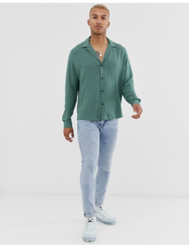 Asos Design Relaxed Viscose Shirt With Low Revere In Sage Green by Asos Design