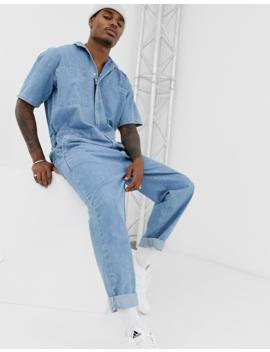 Asos Design Denim Jumpsuit In Mid Wash Blue by Asos Design