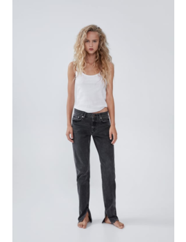 Hi Rise Slim Jeans With Split Hems High Waist Jeans Woman by Zara
