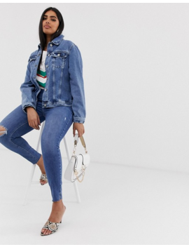 River Island Plus Denim Jacket In Mid Wash by Asos