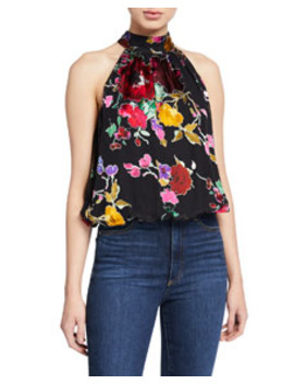 Maris Halter Neck Gathered Top by Alice + Olivia