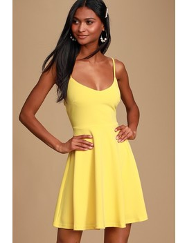 Do You Wanna Dance? Yellow Skater Dress by Lulus