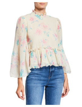 Pleated Georgette Floral High Neck Peplum Blouse by Ganni