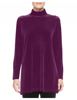 Velour Long Sleeve Turtleneck Tunic by Joan Vass