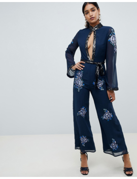 Asos Design Embellished Floral Keyhole 70's Jumpsuit by Asos Design