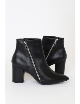 Alexito Black Pointed Toe Ankle Boots by Lulu's