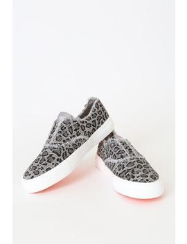 Afina Grey Leopard Slip On Sneakers by Rocket Dog