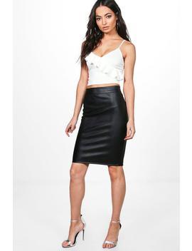 Leather Look Midi Skirt by Boohoo
