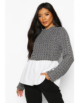 Boucle High Neck Shirt by Boohoo