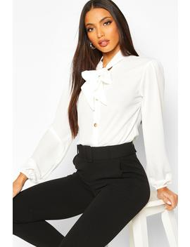 Pussybow Button Through Volume Sleeve Blouse by Boohoo