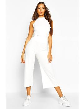 Soft Rib Racer Back Top & Culotte Co Ord by Boohoo
