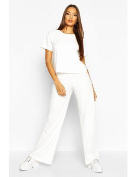 Soft Rib T Shirt & Wide Leg Trouser Co Ord by Boohoo