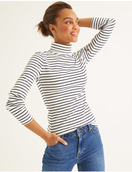 Essential Roll Neck   Ivory/Navy by Boden