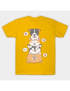 Kawaii Dogs   Pitbull Akita Husky Chow Chow T Shirt by Irene Koh Studio