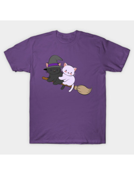Kawaii Cats On Broomstick   Magical Halloween T Shirt by Irene Koh Studio