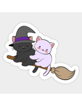 Kawaii Cats On Broomstick   Magical Halloween Sticker by Irene Koh Studio