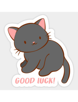 Good Luck Kawaii Black Cat Sticker by Irene Koh Studio