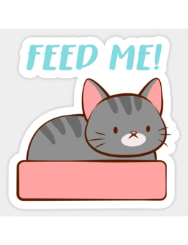 Feed Me Kawaii Kitty Cat Sticker by Irene Koh Studio