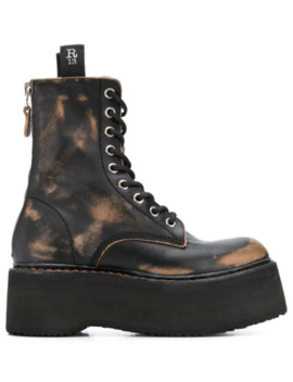 Distressed Platform Boots by R13