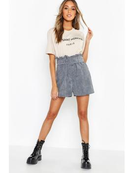 Cord Belted Paperbag Shorts by Boohoo