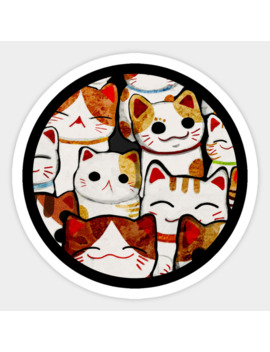 Lucky Cats Sticker by Katherine Blower Designs