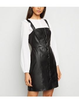 Black Leather Look Button Pinafore Dress by New Look