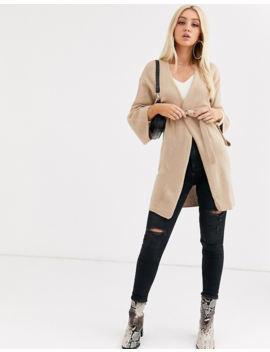 Boohoo Belted Cardigan In Camel by Boohoo
